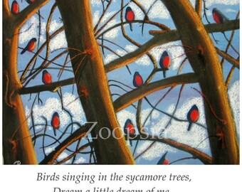 Bird Card, Robins in Winter