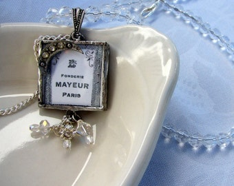 Necklace, Moon Over Paris, Reversible Soldered Glass Pendant Necklace on Crystal Chain