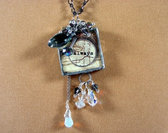 Necklace-Reversible Soldered Glass Pendant Necklace. Crystal Necklac. SALE