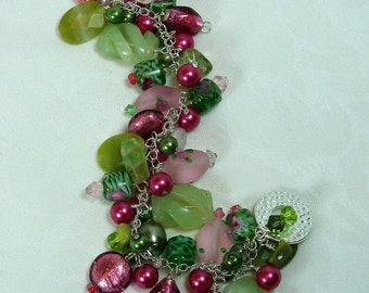 Chain Bracelet, Beaded, Bracelet-Spring Meadow,  (Olive Jade, Freshwater Pearls, Swarovski, Vintage Crystals)