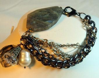 Bracelet, Labradorite,  Grey Gunmetal, Pearl Crystal