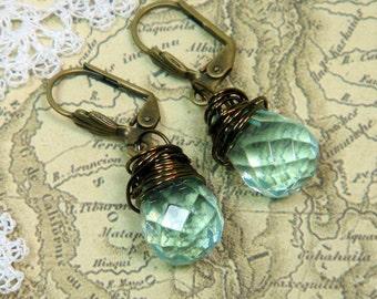 Aqua Blue Earrings Crystal Wirewrapped
