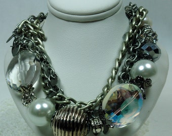 Ice Crystal Bracelet With Pearls And Chains. Wedding. Bridesmaid