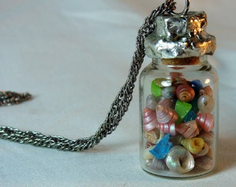 Seashells In A Bottle Necklace Beach Pendant