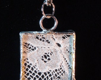 Victorian Vintage Lace Soldered Pendant