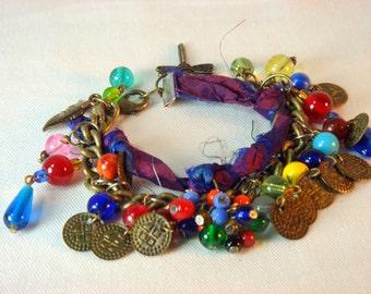 Bohemian Sari Silk Brass Beaded Bracelet