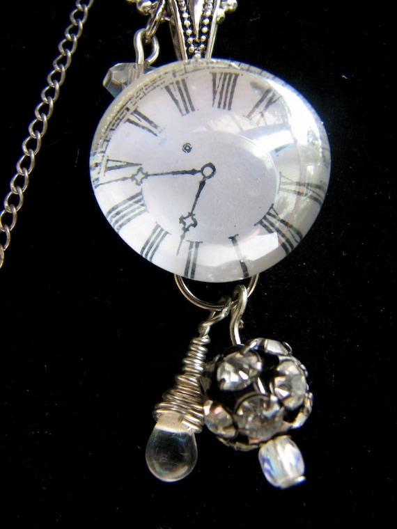 Clock Face Pendant,  Soldered Glass Bubble Pendant,  Necklace,   SALE