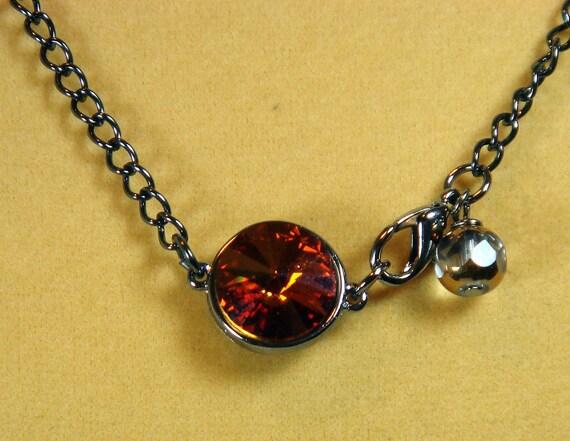 Pendant Necklace-Sparkling Swarovski Pendant Necklace with Gunmetal