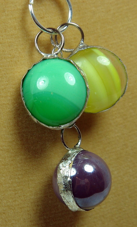 Green, Yellow, And Purple Marble Necklace, Vintage Marbles
