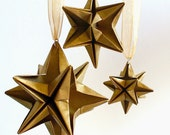 Origami Gold stars - Set of 3