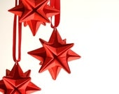 Origami  red Stars - set of 3