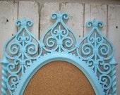 On Hold for Smaranda  - Ornate frame memo bulletin board  Aqua turquoise blue