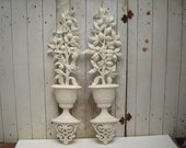topiary scrolly urn - pair (2) upcycled Homco wall decor distressed heirloom white