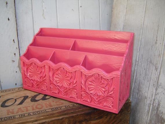 Upcycled letter holder charming pink desk organizer - Pink desk organizer ...
