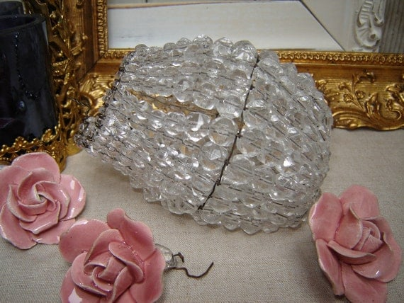 Antique Beaded French Glass Lamp Bulb Shade - Clear Crystal Light Bulb Cover