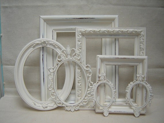 Romantic French Victorian Cottage Picture Frames -  7 Creamy White
