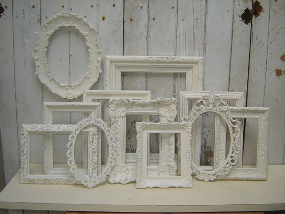 11 ornate picture frames - romantic  french country victorian cottage white upcycled frame collection