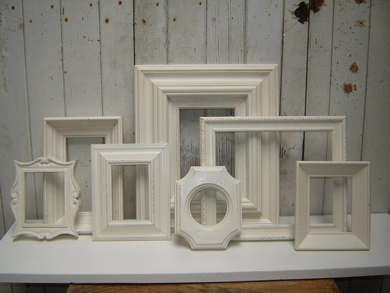 Painted frame collection set of 7 white picture frames -  french country city