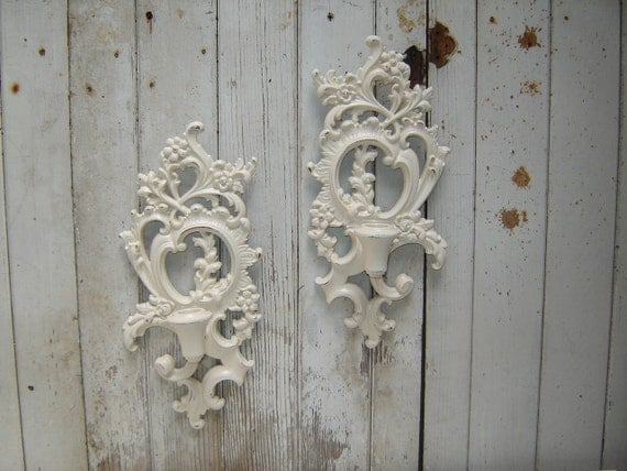 ornate candle wall sconces pair (2)  Syroco Heirloom White sconces