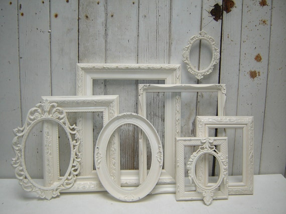 frame set collection 9 painted frames - romantic  french country victorian cottage white upcycled frame collection