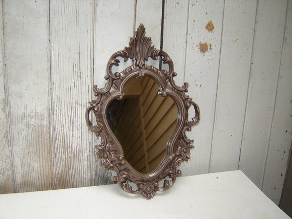Hold for DaffodilsnDiamonds  -  Ornate Mirror Hollywood Regency - painted  hammered Brown Metallic