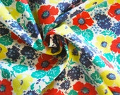 ON SALE Vintage Feed Flour Sack Calico Fabric Red Yellow Blue Green Floral One Yard