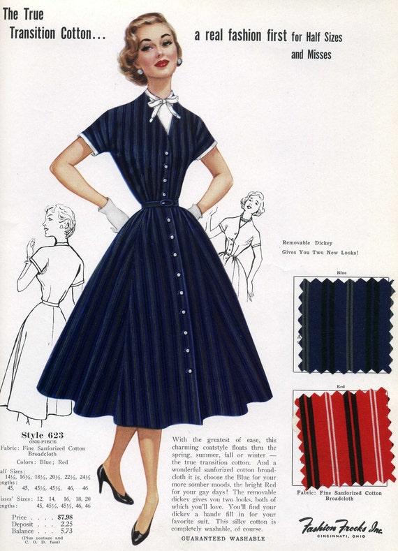 On Sale 1950s Fashion Advertisement Fashion Frocks 623 Navy