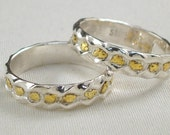 Trail of Gold Ring - Sterling Silver and Gold Nugget