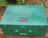 Vintage Military Style Footlocker/Trunk- Shabby Chic Green Suitcase