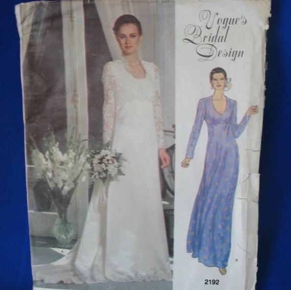 Vogue Wedding Dress Patterns: Vogue Wedding Dress Vintage Pattern Bridal Dress Pattern