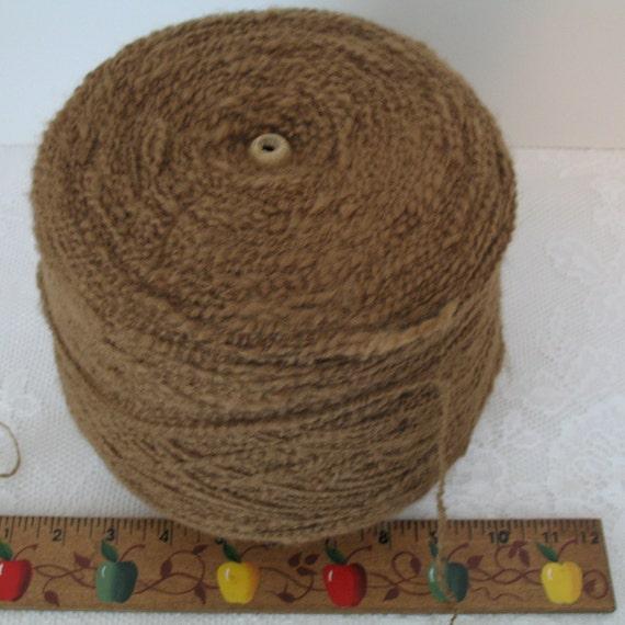 Vintage Large Cone of Vintage Brown Yarn- Vintage Commercial Size Spool of Yarn