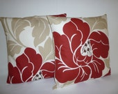 """Reserved for Jovana Funky PAIR Retro Red Taupe Cream Designer Cushion Covers. Pillowcases, Shams, Slips.Floral.16"""" (40cm)"""