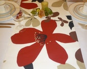 "Red Table Runner Funky Brown, Black, Cream, Taupe. Over 6ft (2.10mts long-82"")"