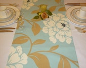 "Coffee/ Console / Dresser Duck egg Blue Table Runner Brown Tan, White Funky Floral Cotton (54"" 137cm)"
