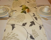 """Long SALE Table Runner Black Taupe and Cream Floral over 6ft Funky Cotton (2mts long-78"""")"""