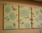Large Fabric Wall Art Blue Duck egg Brown Triptych 3 piece Funky Retro Designer Picture Hanging Home Decor