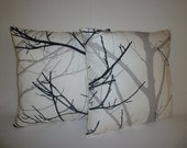 "PAIR Cushion Pillow Covers Funky Retro Black Gray White Tree Designer  Pillowcases, Shams, Slips.Scatter 16"" (40cm)"