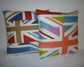 "Union Jack Cushion Covers Designer Pillows Shams Slips Scatter Decorative Retro Throw ONE 16"" (40cm)"