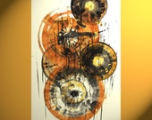 "Abstract Canvas Large Fabric Wall Art Brown Orange Black printed 34"" x 22"""