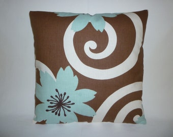 """Cyber Monday Sale Funky Retro Dark Chocolate Brown Robins Blue White Designer Cushion Cover Sofa Scatter Pillow ONE x 15"""""""