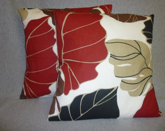 """PAIR Funky Red Pillow Covers Retro Red Black Brown Taupe Floral Leaf Decorative Cushion Covers Shams Slips 20"""" (51cm)"""