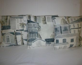 Sale PAIR Villa Meditteranean Pillow Covers Black Gray Funky Retro Decorative Designer Pillow Cases Shams Scatter Slips.