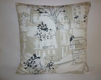 Big London scenic Black Taupe White Retro Designer Cotton Cushion Cover's. Pillowcases Shams Slips
