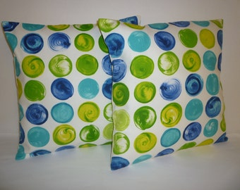 "PAIR Funky Retro Spots Blue Lime Green Designer Cushion Covers. Pillowcases, Shams, Slips 16"" (40cm)"