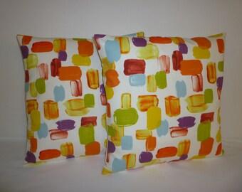 "Orange Lime Green Purple Funky Retro Designer Cushion Covers. Pillowcases, Shams, Slips Pair 16"" (40cm)"