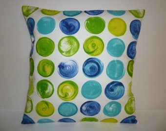 "Blue and Lime Green Spot Designer Cushion Cover Pillowcase Sham Slips. ONE x 16"" (40cm)"