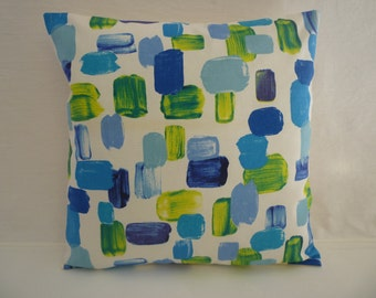 "Blue and Lime Green Designer Cushion Cover Pillowcase Sham Slips. ONE x 16"" (40cm)"
