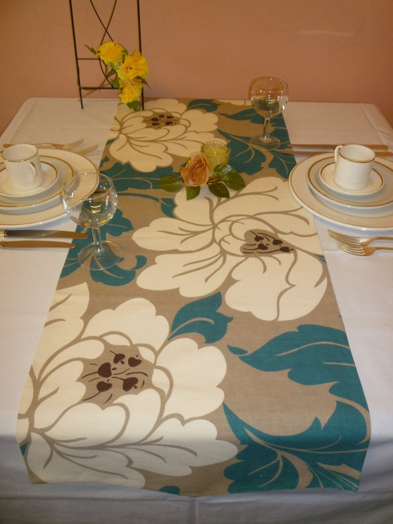 Table Runner Over 6ft Funky Floral Petrol Blue Teal And Taupe