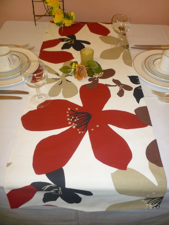 """Red Table Runner Funky Brown, Black, Cream, Taupe. Over 6ft (2.10mts long-82"""")"""