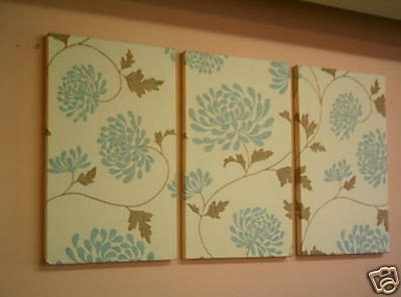Large Fabric Wall Art Blue Duck egg Brown Funky Retro Designer cotton